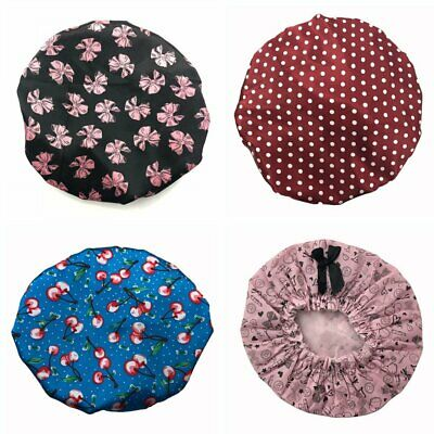 New Women Girl Shower Cap Colored Bath Shower Hair Cover Adults Waterproof HU