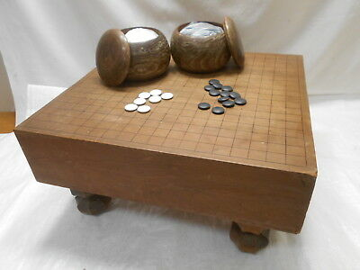 Vintage Japanese Wooden GO BOARD GAME with STONES Strategy Game Goban Go-Ishi#53