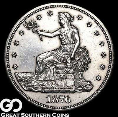 1876-S Trade Dollar, Sharp Silver Dollar