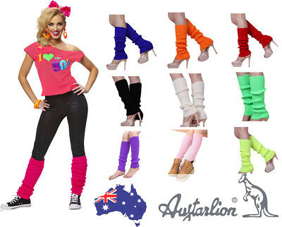 Women Fashion LegWarmers Knitted Neon Dance 80s Costume Pair OF Party Leg Warmer