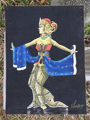 Rare Vintage Hand Painted Balinese Dancer Woman Bali Painting Signed Very old