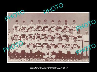 Old Large Historic Photo Of The Cleveland Indians 1948 Baseball Team