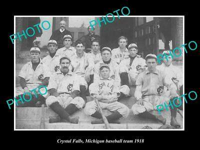 Old Large Historic Photo Of Crystal Falls Michigan, The Town Baseball Team 1918
