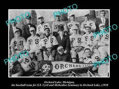 OLD LARGE HISTORIC PHOTO OF ORCHARD LAKE MICHIGAN, SEMINARY BASEBALL TEAM c1910