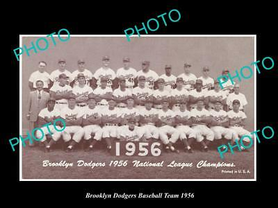 Old Large Historic Photo Of The Brooklyn Dodgers 1956 Baseball Team