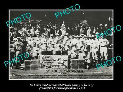 OLD LARGE HISTORIC PHOTO OF St LOUIS CARDINALS BASEBALL TEAM, 1934 RADIO PRMO