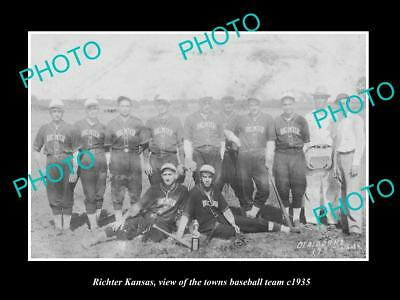 OLD LARGE HISTORIC PHOTO OF RITCHER KANSAS, THE TOWN BASEBALL TEAM c1935