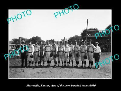 OLD LARGE HISTORIC PHOTO MARYSVILLE KANSAS, THE TOWN BASEBALL TEAM c1930