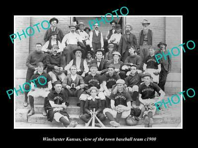 OLD LARGE HISTORIC PHOTO OF WINCHESTER KANSAS, THE TOWN BASEBALL TEAM c1900
