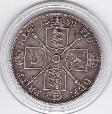 1889   Large  Double  Florin  (4/-)  Silver (92.5%)  Coin