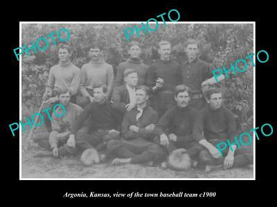 OLD LARGE HISTORIC PHOTO ARGONIA KANSAS, THE TOWN BASEBALL TEAM c1900