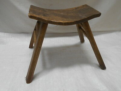 Vintage Handmade Small Chinese Milking Stool Wooden Seat Recycled Material #205
