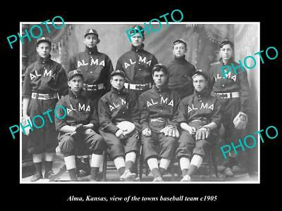 OLD LARGE HISTORIC PHOTO ALMA KANSAS, THE TOWN BASEBALL TEAM c1905