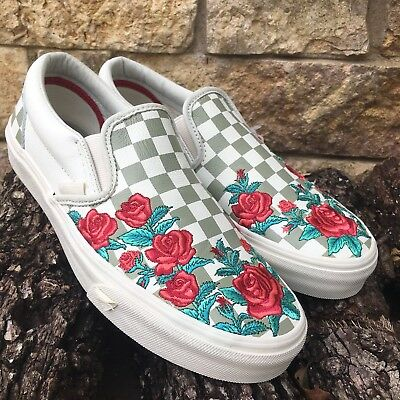 1a56ed09b4d VANS Classic Slip On Rose Embroidery Marshmallow VN0A38F8QF9 Womens -   69.95