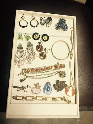 Lot of vintage estate jewelry with sterling bracelet