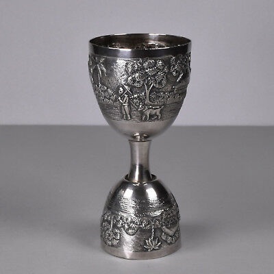 Colonial Anglo Indian Kutch Solid Sterling Silver Jigger Drinks Cocktail Measure