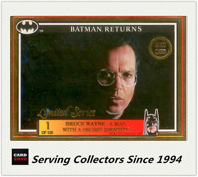 *1992 Australia Dynamic Batman Returns Movie Gold Card No1 Bruce Wayne