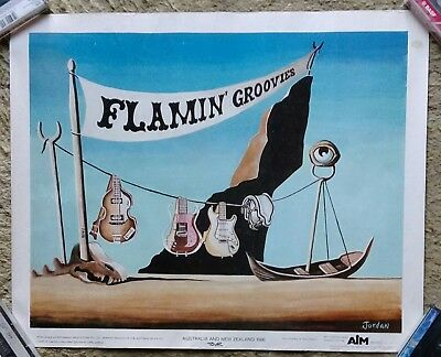 Flamin Groovies Rare 1986 Australian Nz Tour Poster In Nice Condition
