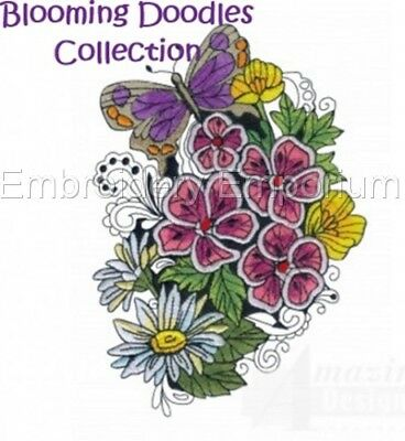 Blooming Doodles Collection - Machine Embroidery Designs On Cd