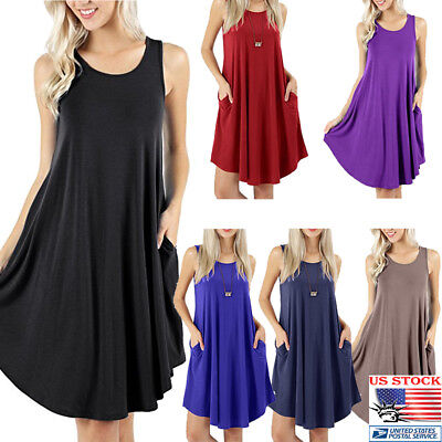 US Women Round Collar Loose Casual Sleeveless Pocket Summer Beach Sundress Dress