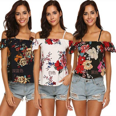 Womens Off Shoulder T-shirt Loose Blouse Casual Shirt Summer Tops Floral Print