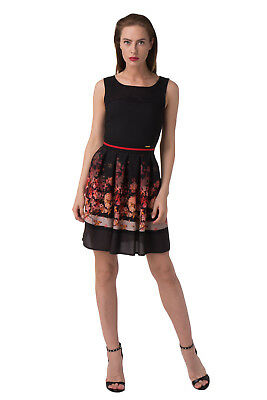 GUESS Pleated Dress Size XS Floral Mesh Detail Made in Italy W64K1SW8UM0