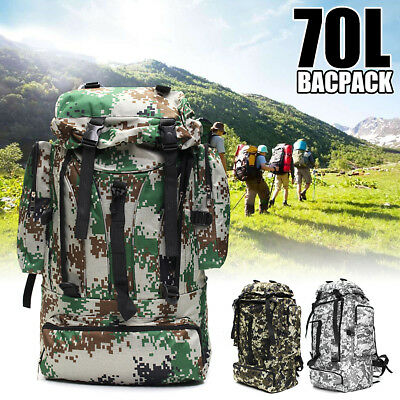 70L Waterproof Sports Tactical Camping Travel Hiking Backpack Bag Luggage Gift