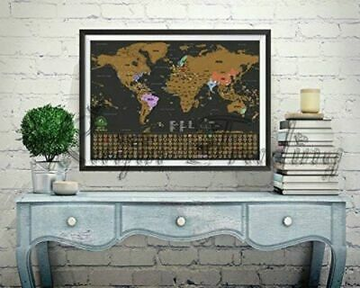 Deluxe Travel Edition Scratch off World Map Poster Personalized Journal Map 42CM