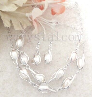 Genuine White Cultured Freshwater Pearls Cage Necklace Bracelet Earrings Sets