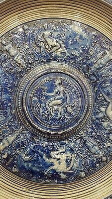 Faience Blue pottery Charger depicting Roman Antiquity1879/1921merklebach & wick