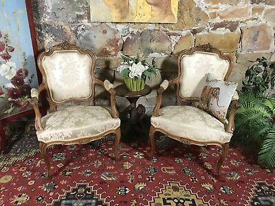 2 x Antique French Louis Style Armchairs~Bergeres~Shabby Chair-Chic