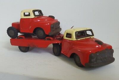 Vintage  tin Truck with trailor plus japan