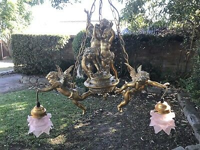 Antique French Louis Style 3 Arm Cherub Ceiling Light~Gilt Chandelier