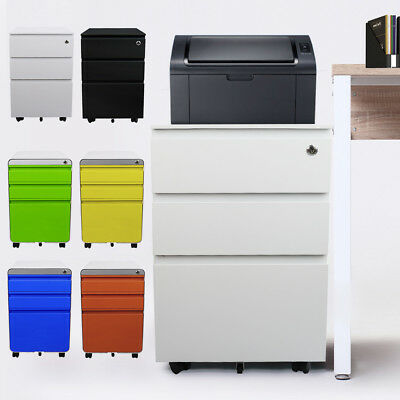 Metal 3 Drawer A4 Filing File Cabinet Home Office Lock Storage Rolling Chest UK