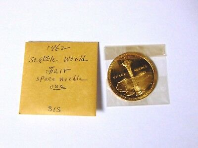 NM/Mint UNC 1962 Seattle Worlds Fair Official Medal Space Needle Token Coin