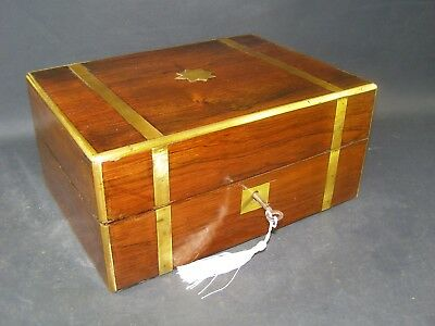 Antique Brass Banded Document Box Working Lock & Key 1870 Rosewood, Star Center