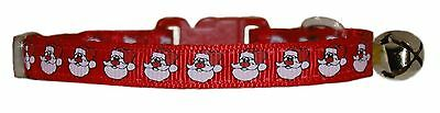 """RED GREEN WHITE  """" Father CHRISTMAS SANTA safety kitten cat collar bell"""