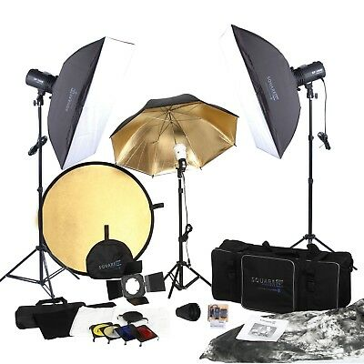 Square Perfect SP3500 Complete Portrait Studio Kit w/Flashes-Softboxes & More