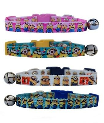 Blue White  Pink Minions despicable me  cat kitten  safety collar 3 sizes