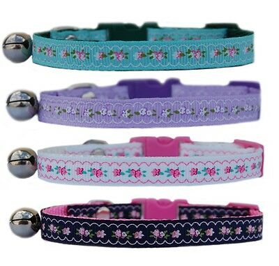 Green lilac pink white navy  safety kitten cat collar bell 3 sizes