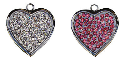 sparkle rhinestone heart  dog id tag collar charm pink, clear Metal