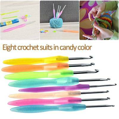 8pcs/set Crochet Hooks Set Knitting Needles Sets Sewing Tool Grip Plastic Handle