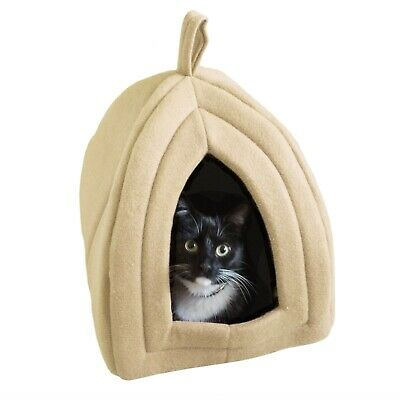 Tan Cat Pet Igloo Cave Enclosed Covered Tent House Removable Cushion Bed