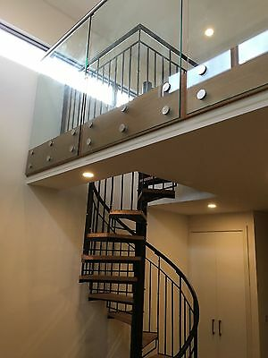 Wrought Iron spiral s'case Plain bal'trade with timber treads 1600 Dim,$2050/M