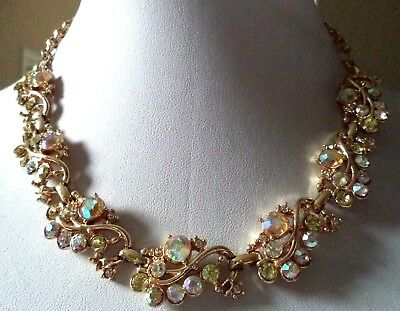 "Stunning Vintage Estate High End Ab Yellow Rhinestone 16 1/2"" Necklace!!! G6816S"