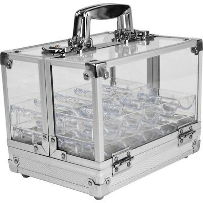600 Chip Capacity Clear Acrylic Case with Handle and 6 Trays Holds 600 Poker Chi