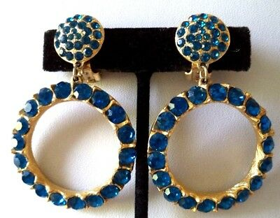 "Stunning Vintage Estate High End Blue Rhinestone 2 3/8"" Clip Earrings!!! G6817G"
