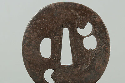 Antique Iron Tsuba 61mm for Short Sword Japanese Koshirae Katana Tanto Wakizashi