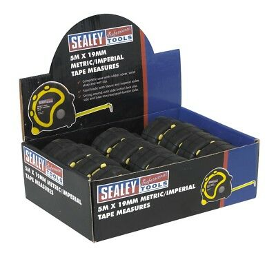 Sealey Rubber Measuring Tape 5mtr(16ft) x 19mm Metric/Imperial Pack of 12 AK9891