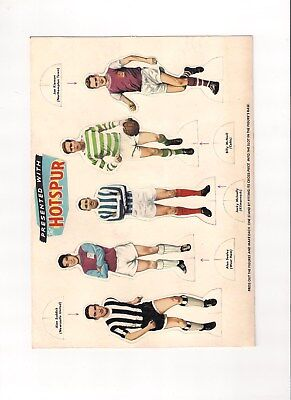 Hotspur Comic Free Gift Stand Up Footballers Uncut Sheet October 16th 1965 rare